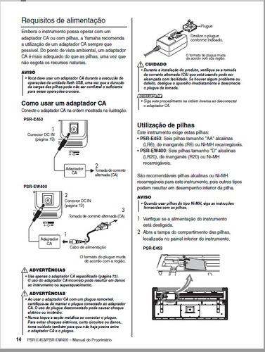 manual teclado yamaha psr-e453 e psr-ew400 em português pdf
