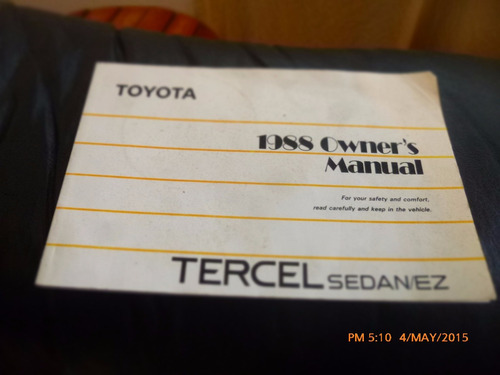 manual toyota tercel sedan 1988  --en ingles (c-12