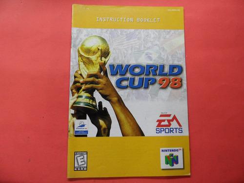 manual world cup 98 nintendo 64 n64 frete 6,00