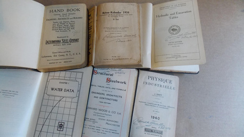 manuales ingenieros antiguos, los de la foto alemán ingles