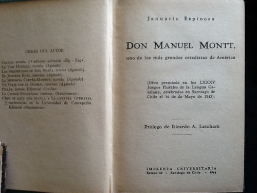 manuel montt estadista américa - januario espinoza - 1944