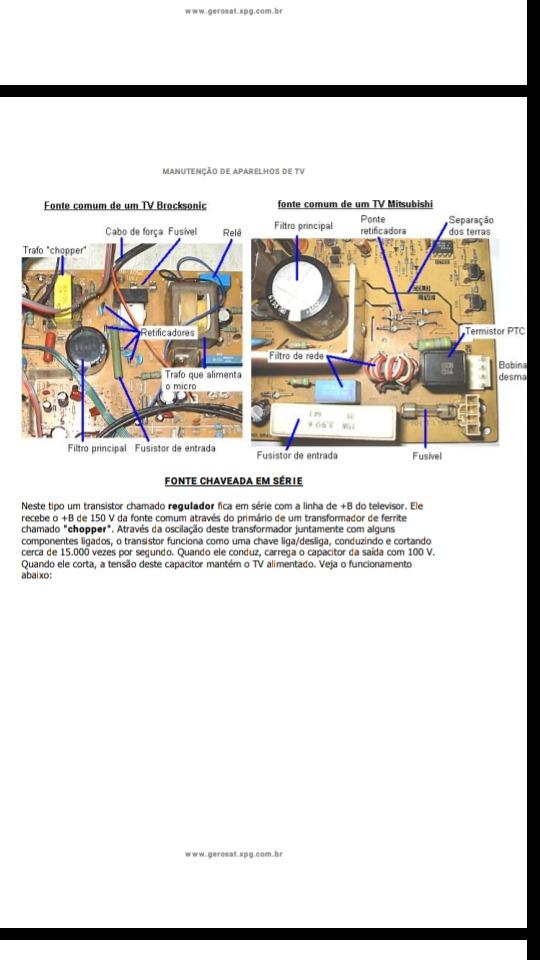 Manutenção De Aparelhos De Tv Localização Dos Componentes - R$ 10,00 ...