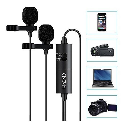 maono au200 dual lavalier microphones microfono de solapa co