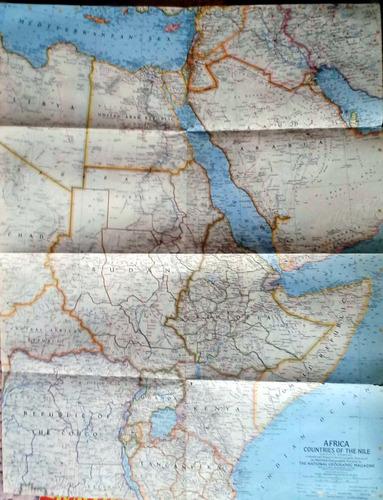 mapa africa countries of the nile nat geo 1963 62 x 48 cm bu