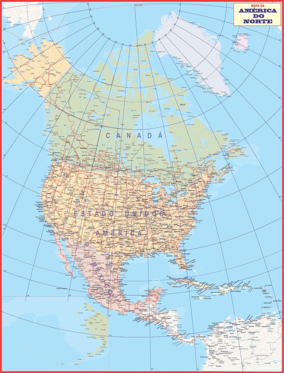 alasca mapa Mapa América Do Norte Político Canada Alasca Usa México   R  alasca mapa