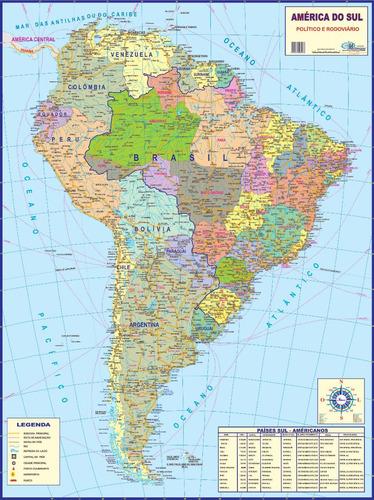 mapa america do sul 120 x 90cm gigante enrolado