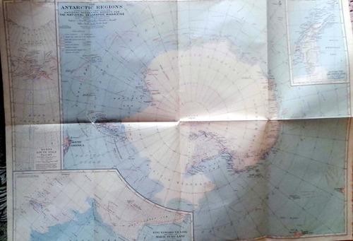 mapa antarctic - nat geo c.1920 67 x 49.5 cm muy buen estado