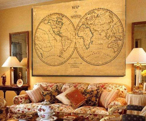 mapa antiguo año 1836 bastidor en lienzo 120 cm x 80 cm