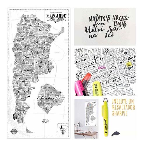 mapa argentina viajeros resaltador poster viajes provincias