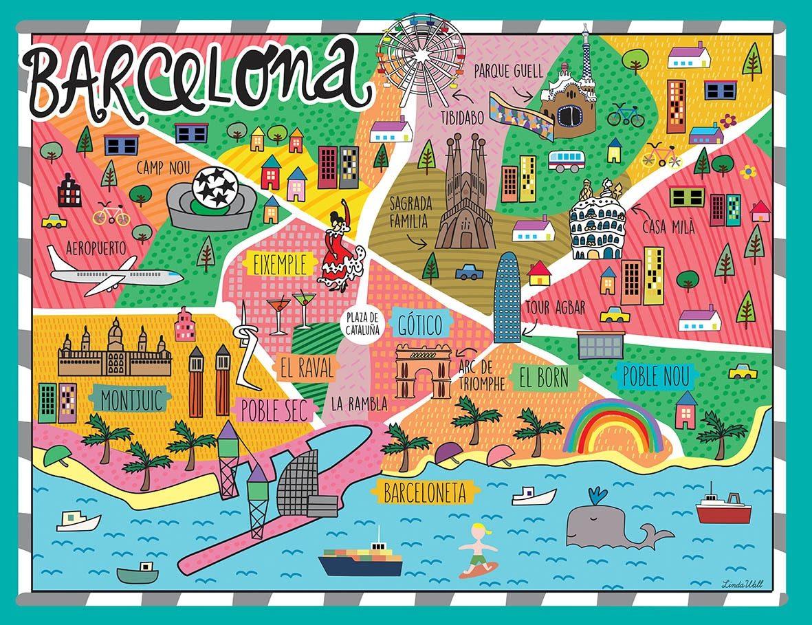 Barcelona En El Mapa.Mapa Barcelona Vinilo Decorativo Infantil Linda Wall 3 200 00 En Mercado Libre