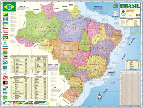 mapa brasil politico rodovia 120x90 cm frete r$ 10,00