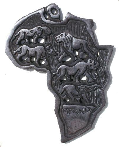 mapa de africa de madera pequena tallada a mano arte 13.5cm