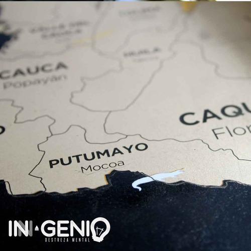 mapa de colombia para raspar 82*59cm+kit raspar scratch mapa