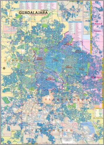 mapa de guadalajara dividido por colonias 1.8x1.25m