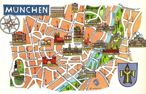Mapa De Munich Ciudad De Alemania Lamina 45x30 Cm 428 48