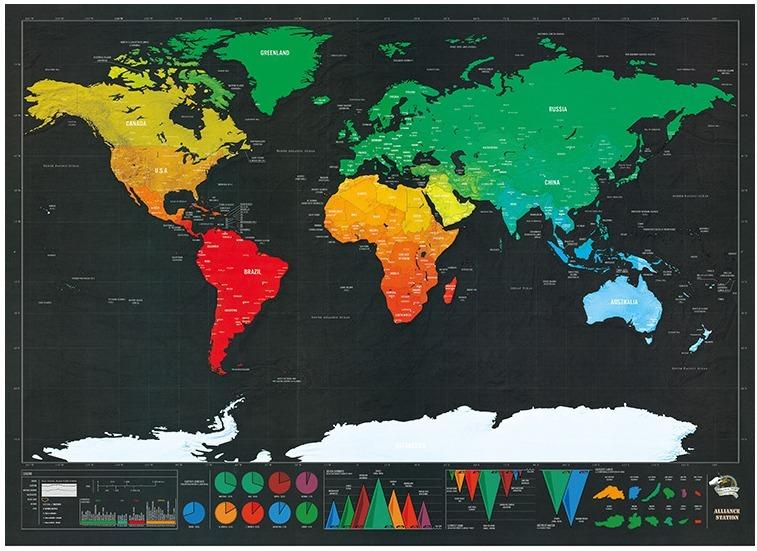 Mapa De Rascar Deluxe Scratch Map Paises Pequeno Mapamundi