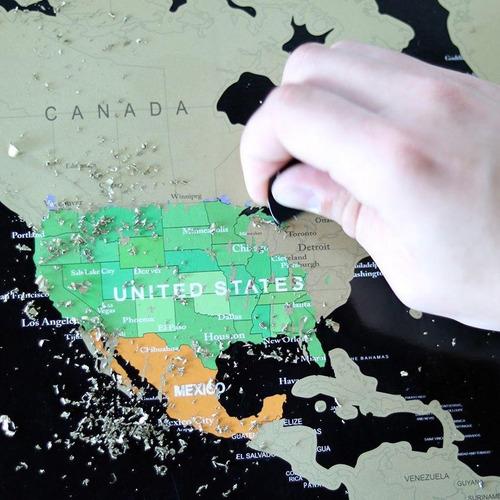 mapa de raspar mundi raspadinha - preto e dourado não rasga