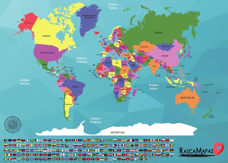 Mapa De El Mundo.Mapa De Todo El Mundo Rascable