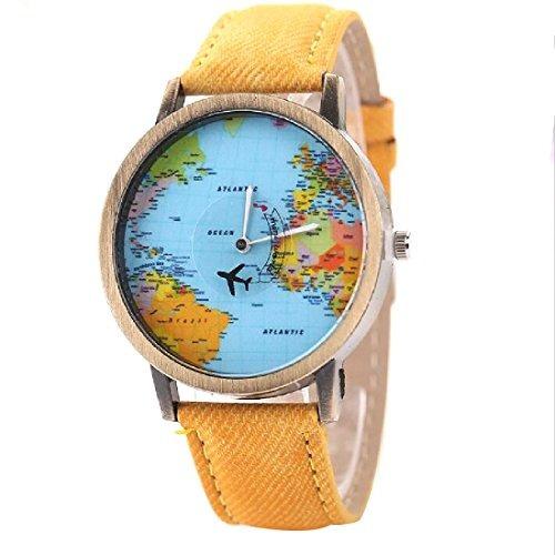 mapa del mundo joylivecy retro del reloj de manera ocasiona