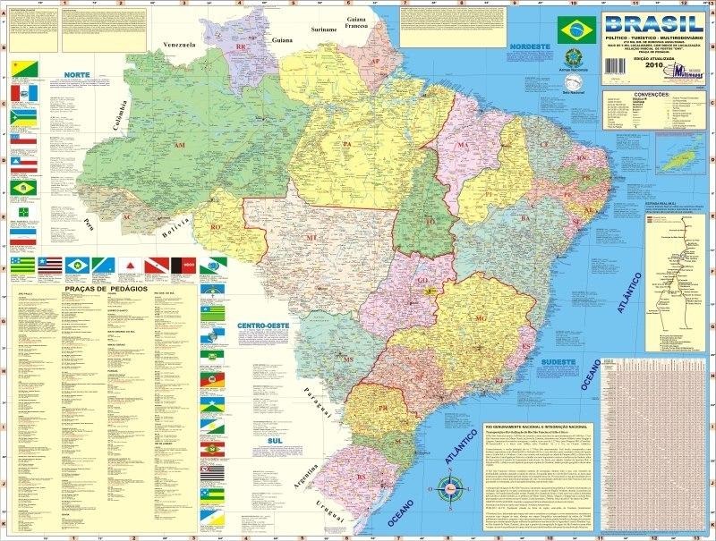 Mapa Do Brasil Poltico E Rodovirio Gigante  090 X 120m  R