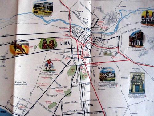 mapa esso peru 1950 impreso en eeuu