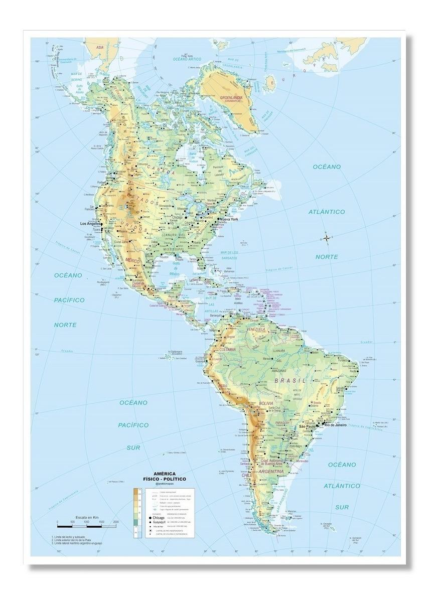 Mapa Fisico De America.Mapa Fisico Politico De America 85cmx61cm