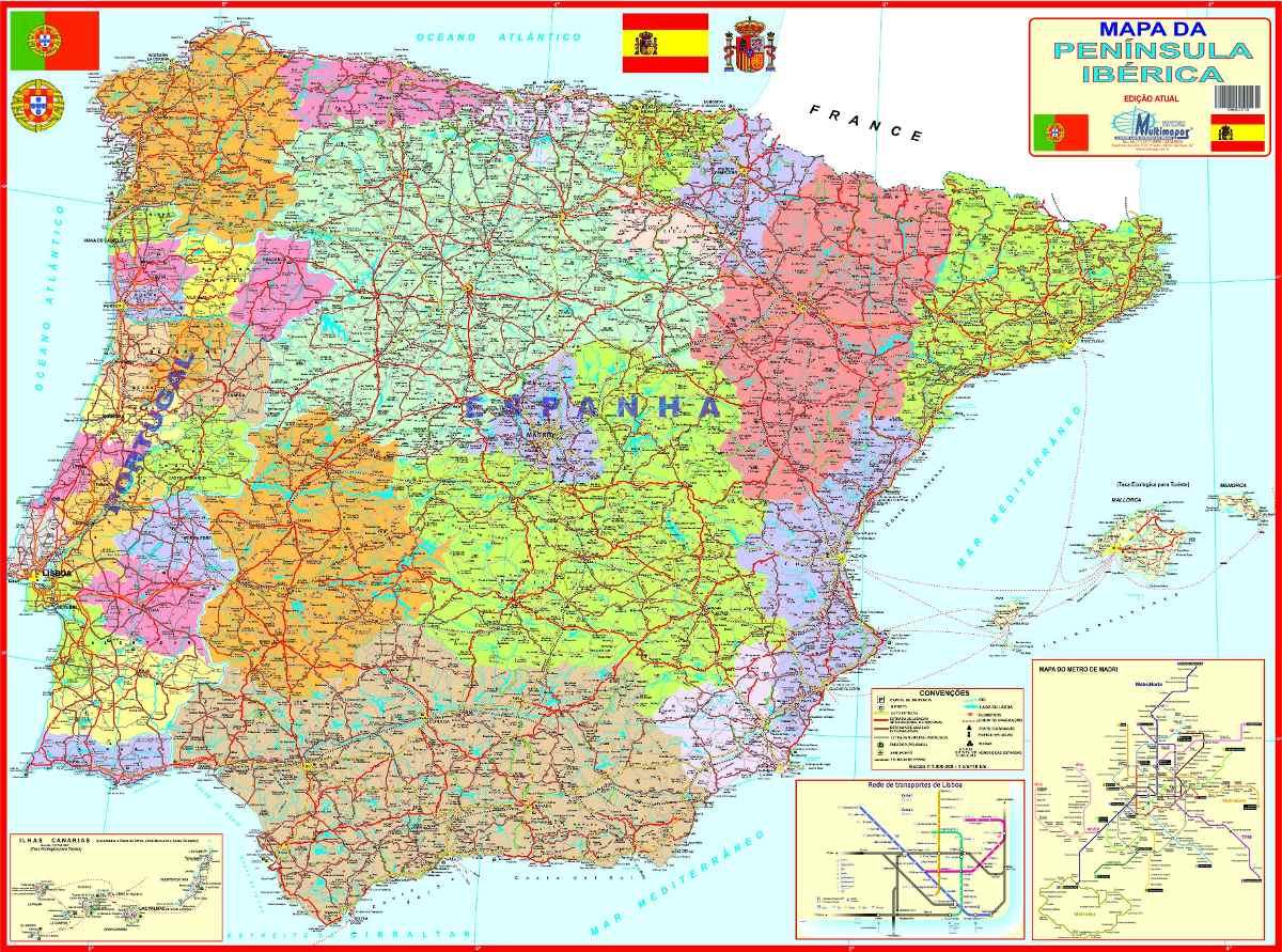 mapa espanha Mapa Geo Político Da Península Ibérica ~ Portugal + Espanha   R  mapa espanha