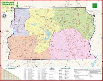 mapa geo político do distrito federal brasília 1,20 x 0,90m