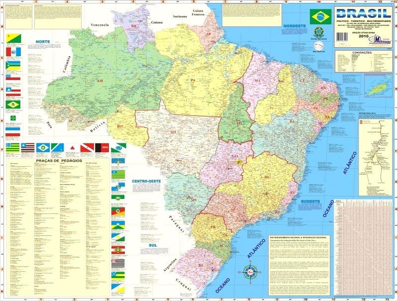 geo mapa Mapa Geo Político E Rodoviário Gigante Do Brasil 1,20 X 0,90   R  geo mapa