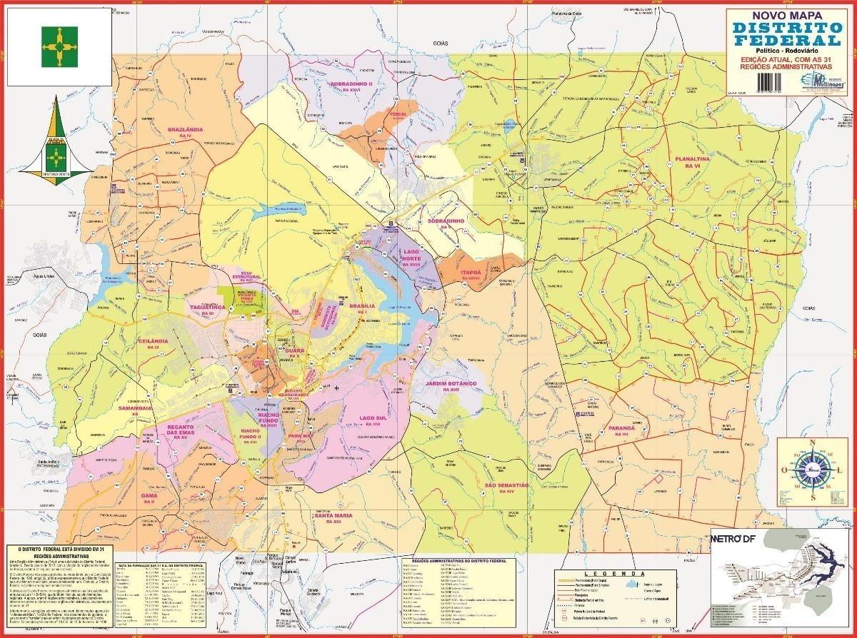 Mapa Geo Politico Gigante Do Distrito Federal 120 X 90 Cm R