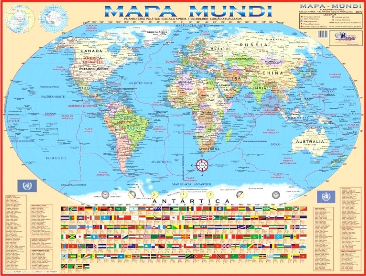 Mapa Geo Politico Mundial Mundi Gigante Medindo 1 20 X 0 90m R