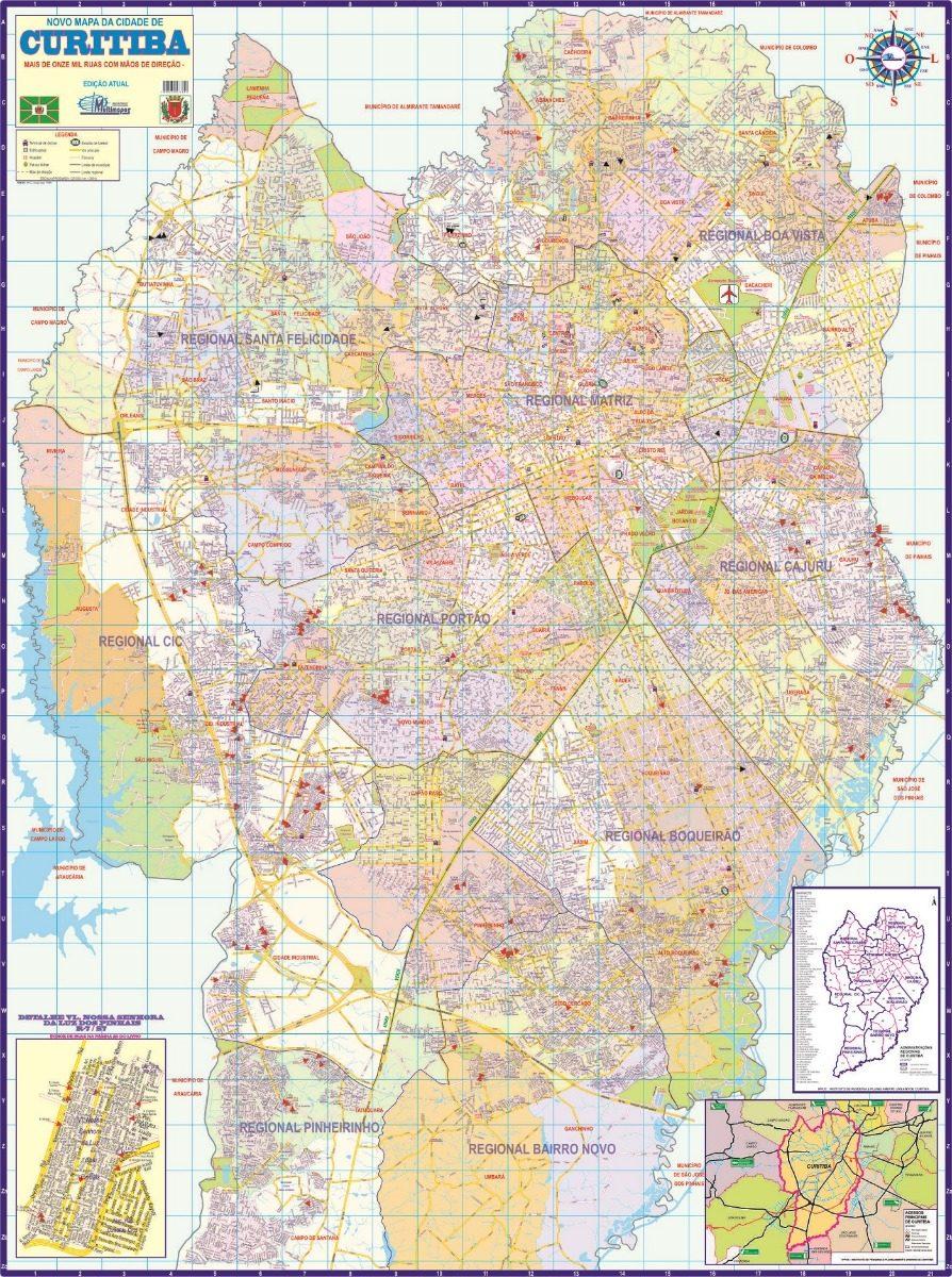 Mapa Geo Politico Rodoviario Gigante Da Cidade De Curitiba R 16