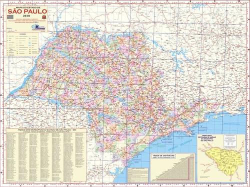 mapa geo político rodoviário gigante do estado de são paulo