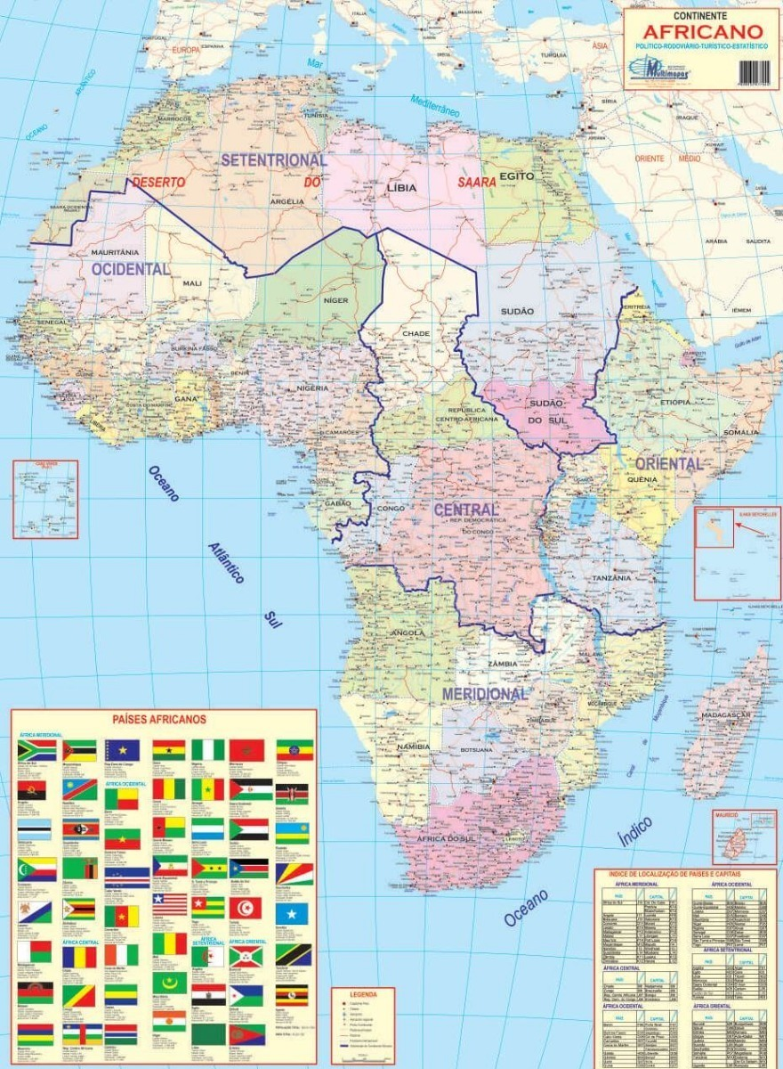 Mapa Geografico Da Africa Politico 89 X 117cm Frete Gratis R