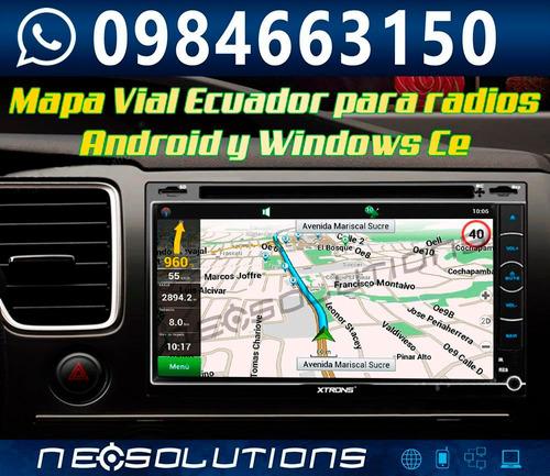 mapa gps ecuador autoradio windows ce android igo sygic