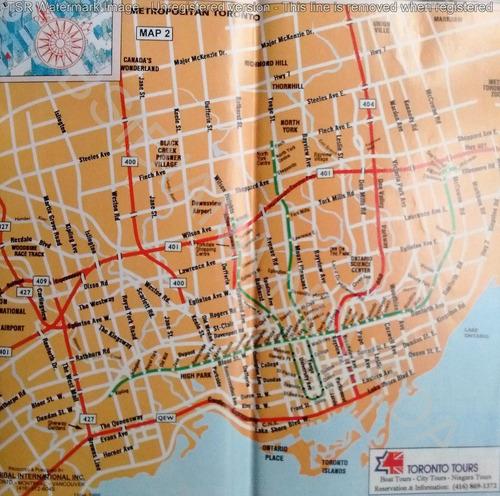 mapa guía turística toronto downtown yorkville canada 1995