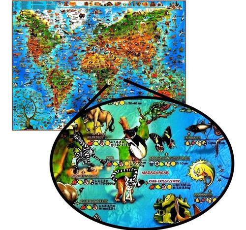 mapa ilustrado animais espécies mundo enfeite para biologia