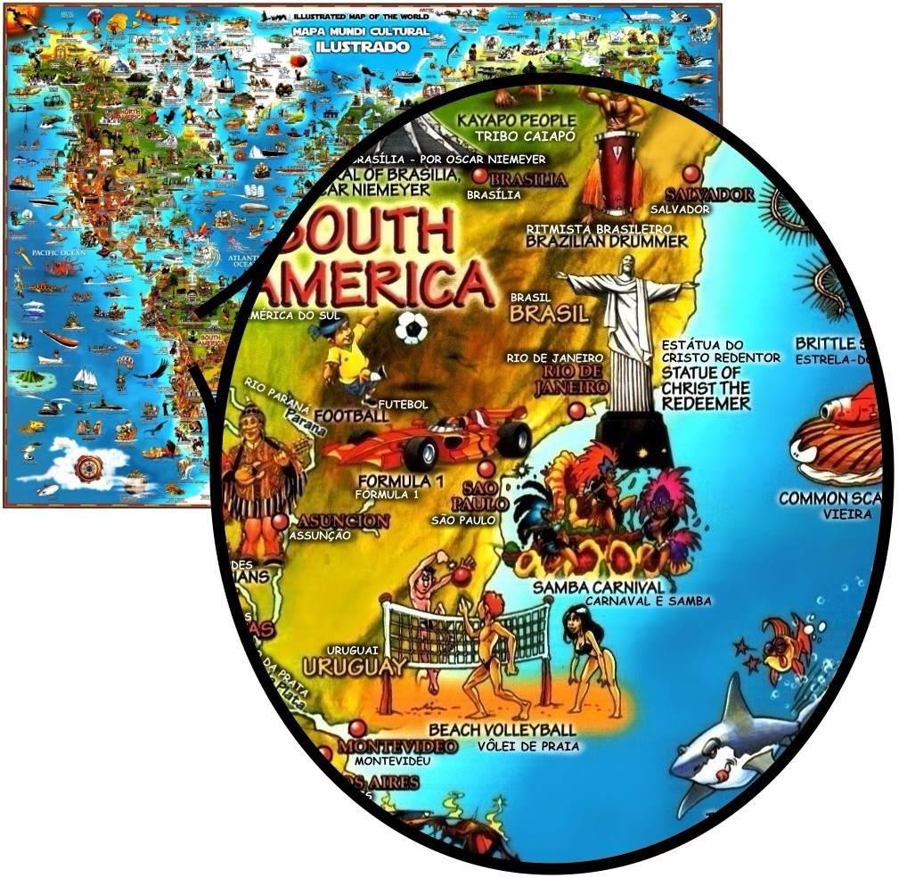 Mapa Mundi Cultural Ilustrado Infantil Ingls Portugus Foto  R