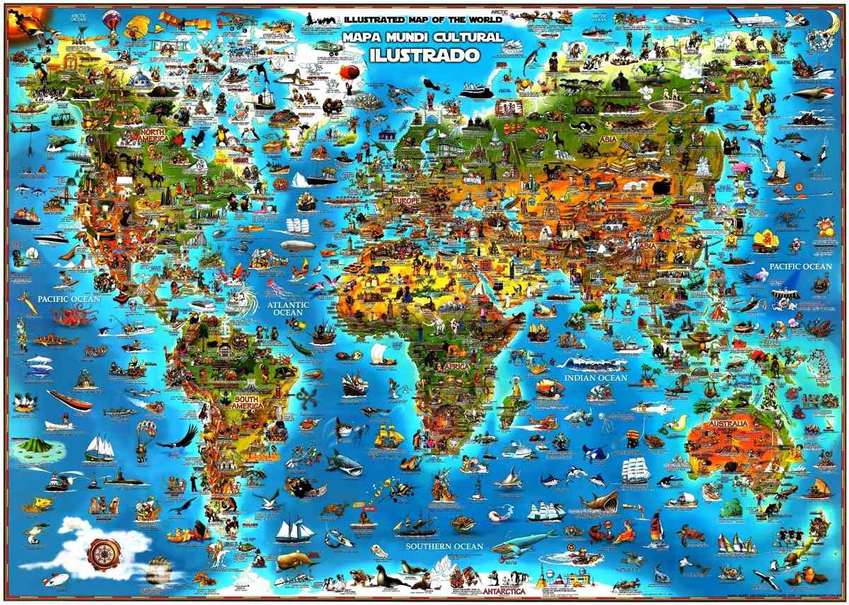 mapa do mundo completo Mapa Mundi Cultural Ilustrado O Mais Completo Do Planeta   R$ 138  mapa do mundo completo