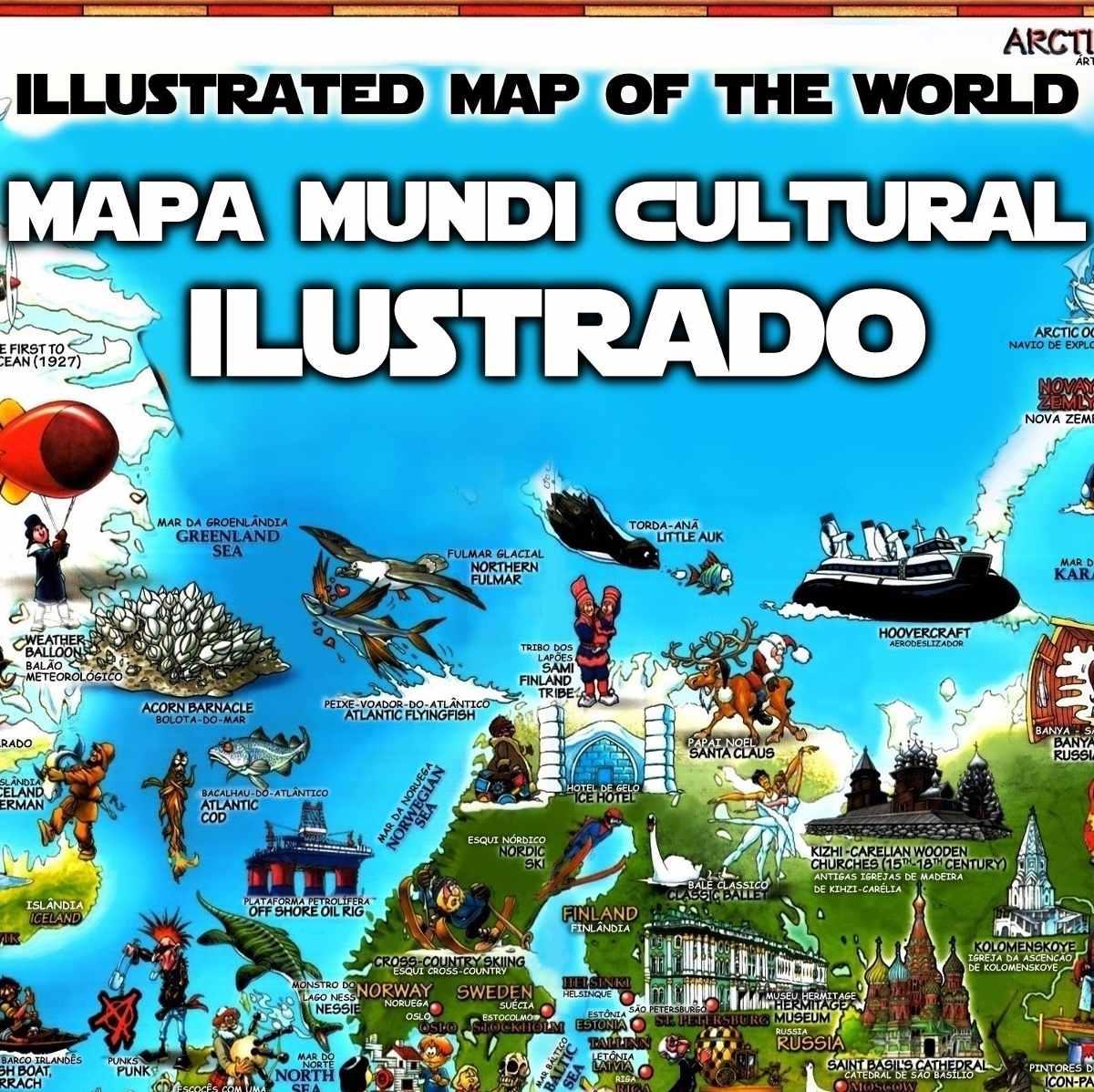Mapa Mundi Cultural Ilustrado Pases Cidades Rios Plantas Hd  R