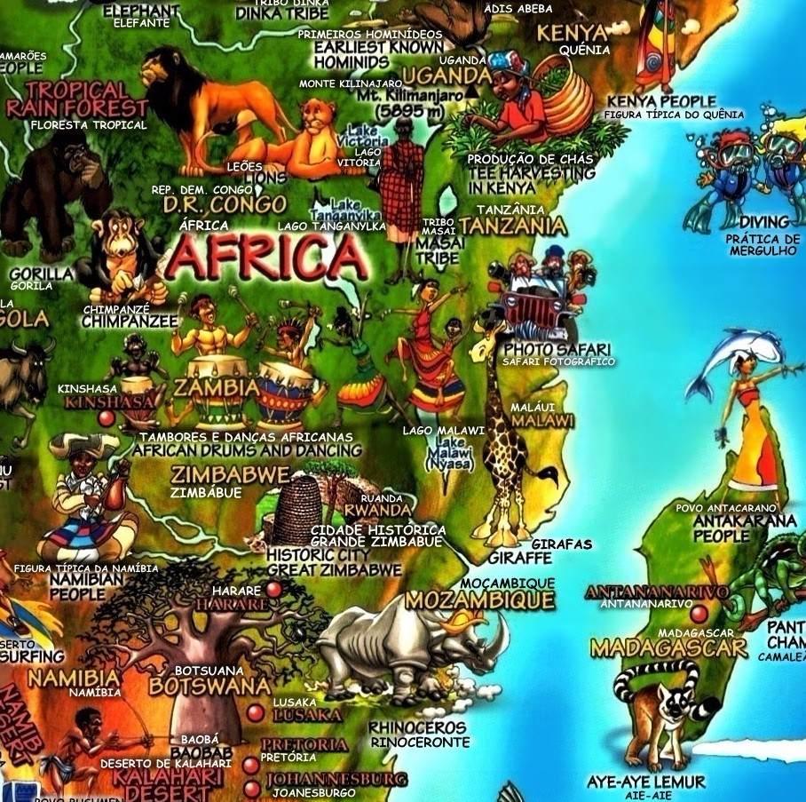 Mapa Mundi Cultural Ilustrado Pases Cidades Rios Vegetao  R