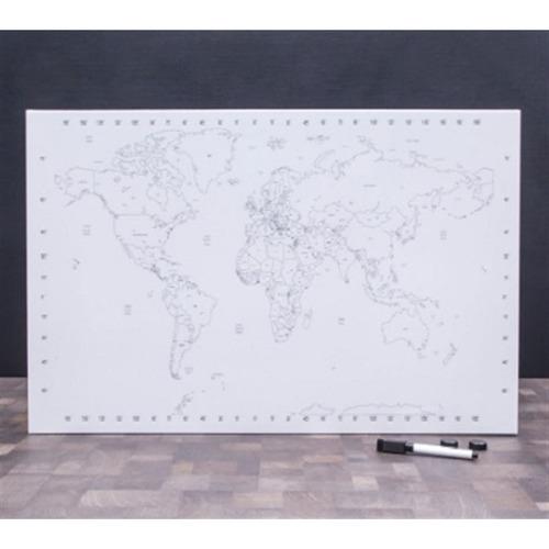 mapa mundi de pintar educativo viagem luxo com kit fixação
