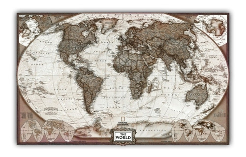 mapa mundi estilo antigo 65x100cm dados atualizados 2018