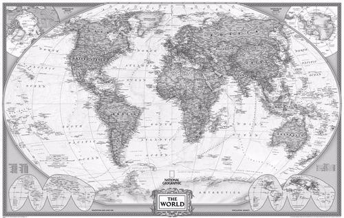 mapa mundi foto preto e branco 65x100cm enfeite para casa