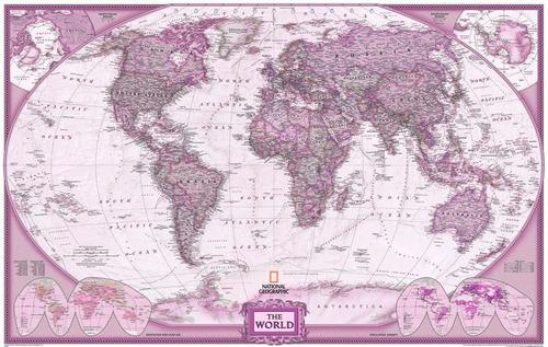 mapa mundi gigante 65x100cm tons rosado ganhe 20 etiquetas