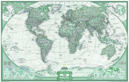 mapa mundi gigante do mundo 65x100 cor verde decorar parede