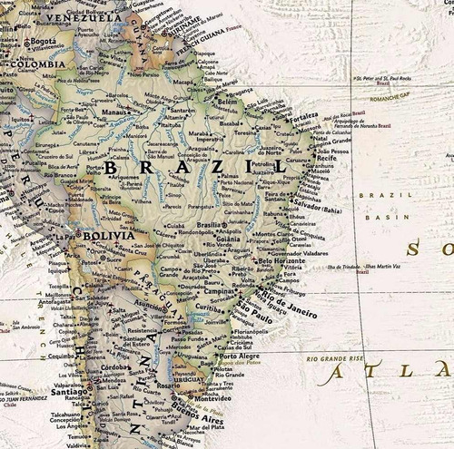 mapa mundi gigante hd em papel fotográfico decoração parede