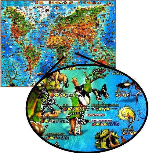 mapa mundi ilustrado mundo animais pra decorar casa quarto