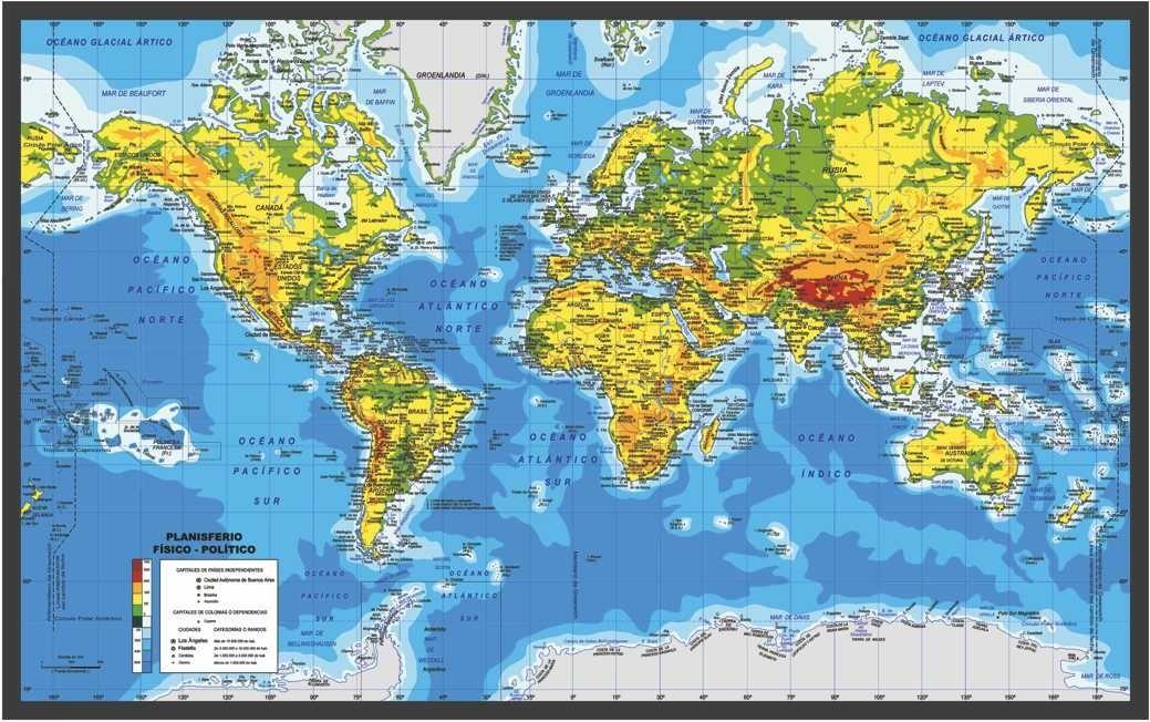 Mapa Mundi Mundo Pared Mural Planisferio Fisico Politico Gde - $ 970 ...
