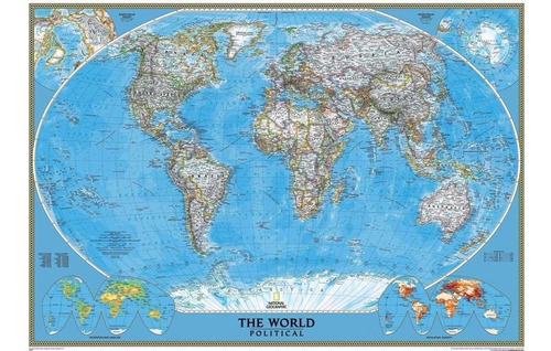 mapa mundi político do mundo de parede - não é de raspar